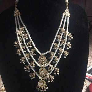 Jewelry - 3 strands kundan and pearl necklace